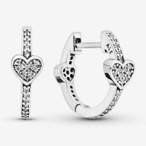 Pandora Pavé Heart Hoop Earrings